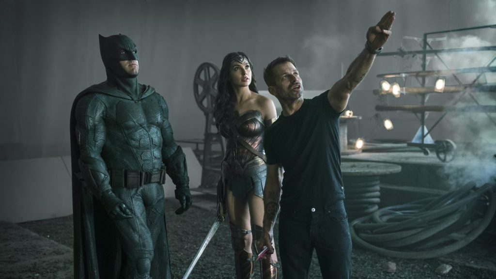 Zack Snyder directing Ben Affleck and Gal Godot for Zack Snyder's Justice League