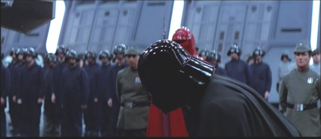Galactic Empire janitorial staff awaiting the arrival of the Emperor.