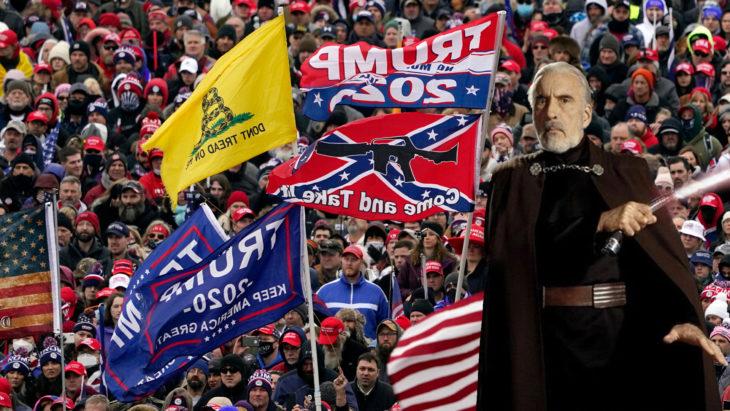 Count Dooku at a Trump rally.