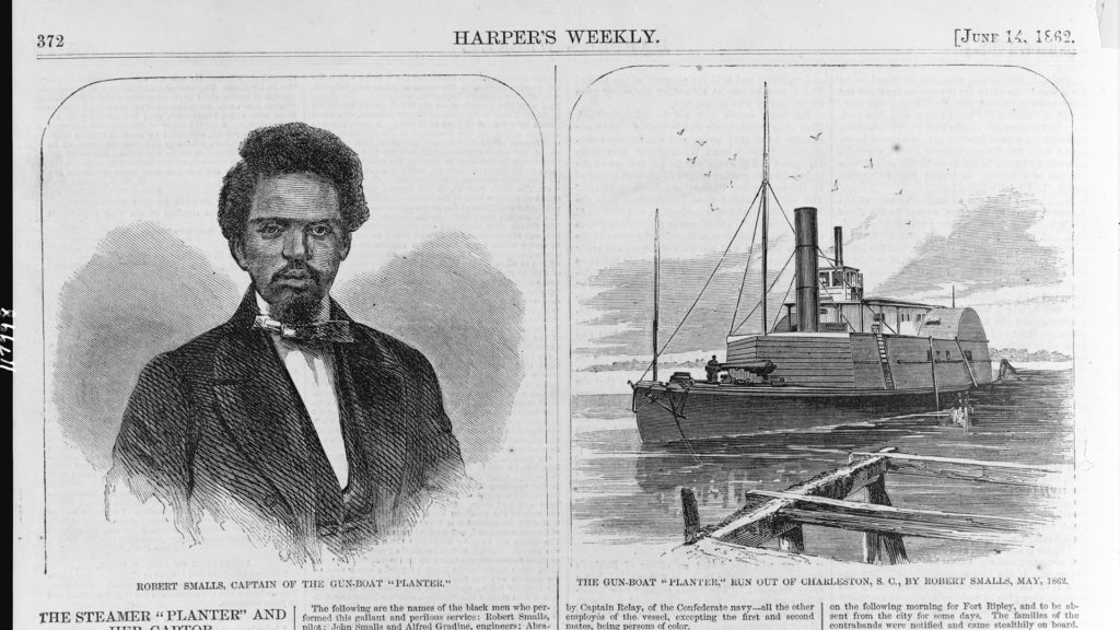 Captain Robert Smalls and his ship in Harper's Weekly