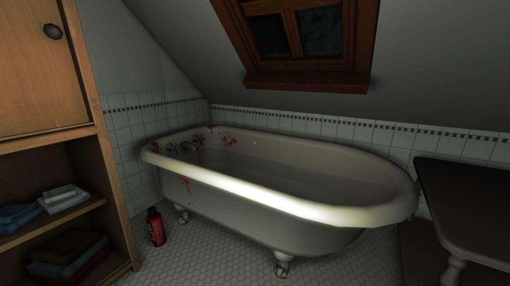 Bloody bathtub screenshot from Gone Home.