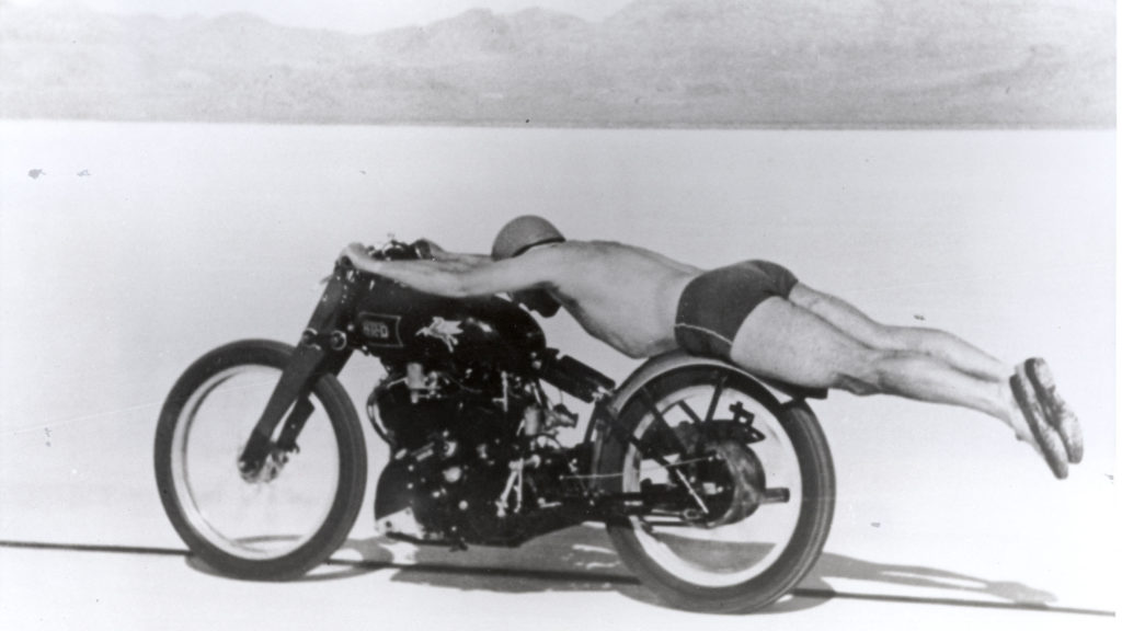 Rollie Free setting the land speed record on his Vincent Black Lightning